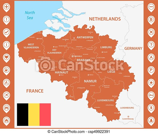 the detailed map of the belgium with regions or states and cities capitals with