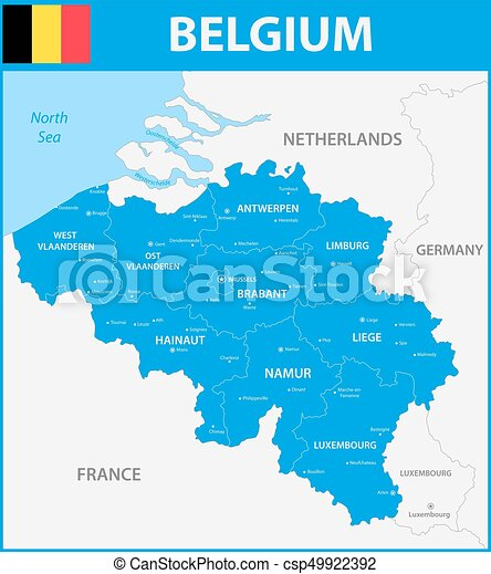 Map Of Germany With States And Cities.The Detailed Map Of The Belgium With Regions Or States And Cities Capitals