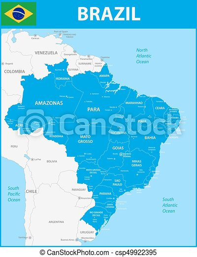 The detailed map of the Brazil with regions or states and cities, capitals.