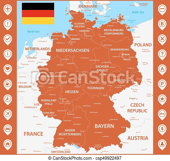 Detailed Map Of Germany.The Detailed Map Of The Germany With Regions Or States And Cities Capitals With Map Pins Or Pointers Place Location Markers Or Signs