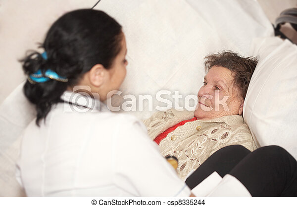 The doctor and old woman - csp8335244