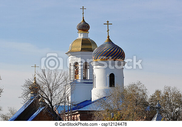 The dome of the Orthodox Church on the border between Europe and Asia - csp12124478