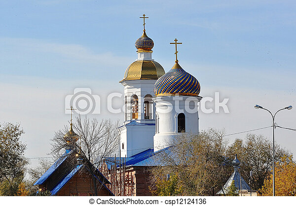The dome of the Orthodox Church on the border between Europe and Asia - csp12124136