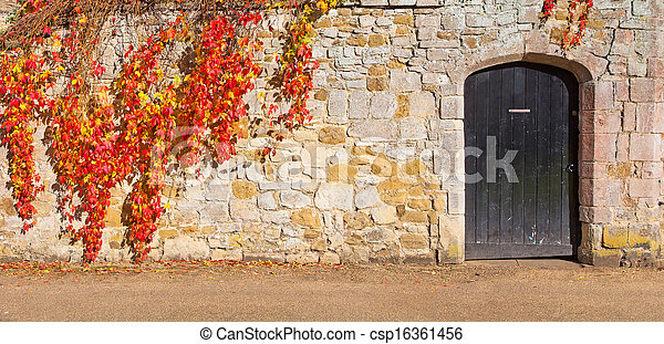 the door and stone wall - csp16361456