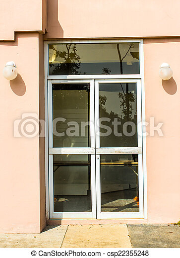 The Door Tinted Glass With A Bright Frame In The Office Stock