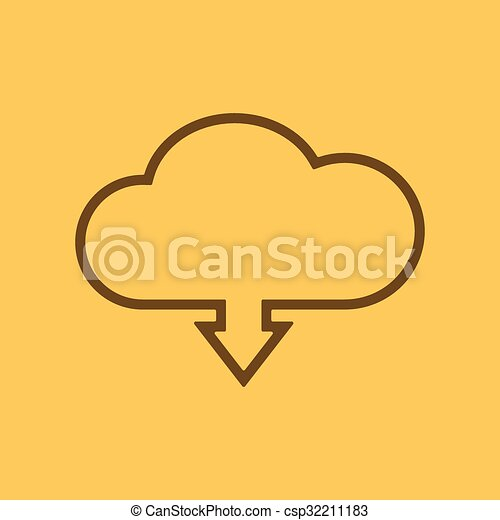 The download to cloud icon. Download symbol. Flat - csp32211183