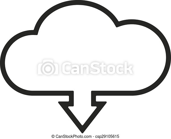 The download to cloud icon. Download symbol. Flat - csp29105615