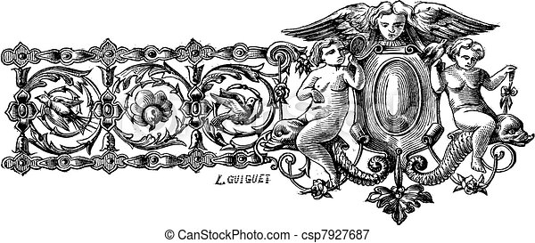 The drawing of first bracelet made by Francois-Desire Froment vintage engraving - csp7927687
