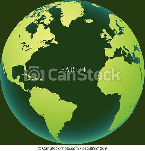 The earth with continents on a green background - csp39921389