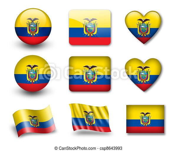 The Ecuador Flag Set Of Icons And Flags Glossy And Matte - Ecuador flags