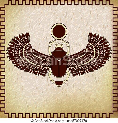 The Egyptian Sacred Bug A Scarab A Symbol Of The Sun Vector
