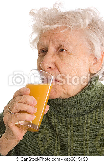 The elderly woman with a juice glass - csp6015130