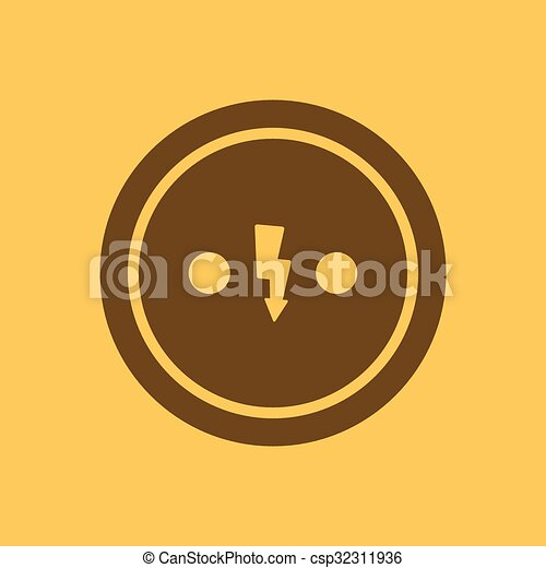 The Electrical Outlet Icon Socket Symbol Flat Vector Vectors
