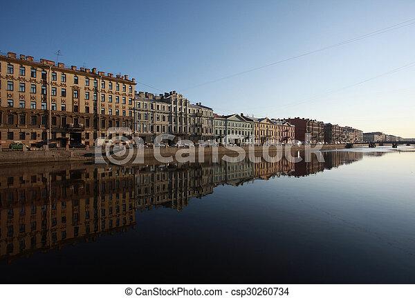 The embankment of Fontanka river. Saint-Petersburg, Russia - csp30260734