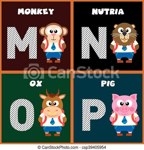 The english alphabet letter m n o pctor illustration clipart