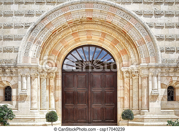 The entrance to the Dormition Abbey in Jerusalem - csp17040239