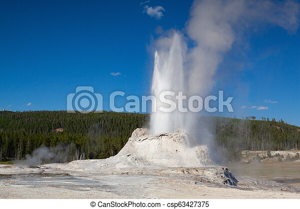 The eruption in Castle Geyser in Yellowstone NP, USA - csp63427375