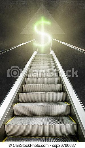 The escalator up towards luminous sign of the dollar - csp26780837