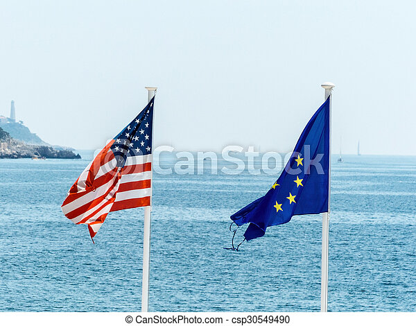 the eu and us flags - csp30549490