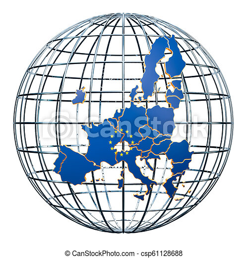 The European Union map on the Earth Globe  3D rendering