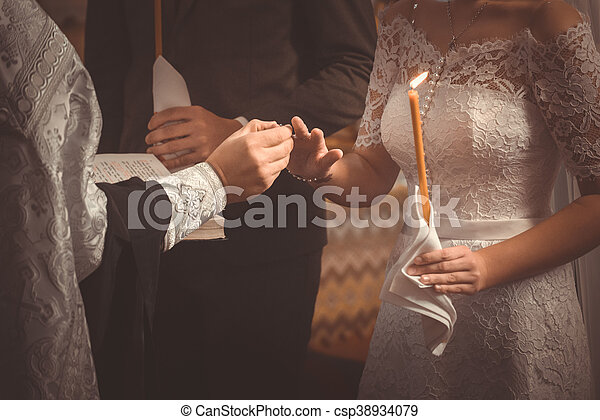 The exchange of rings during an orthodox wedding the priest