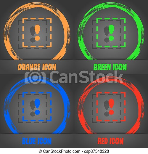 The exclamation point in a square icon. Fashionable modern style. In the orange, green, blue, red design. Vector - csp37548328