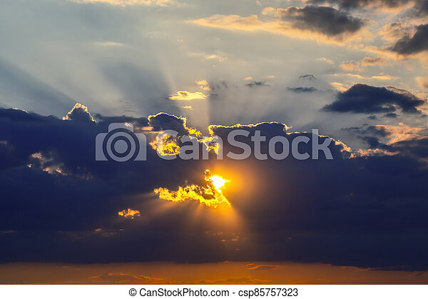 the expressive contrast of the clouds in the sky. sunset with bright clouds - csp85757323