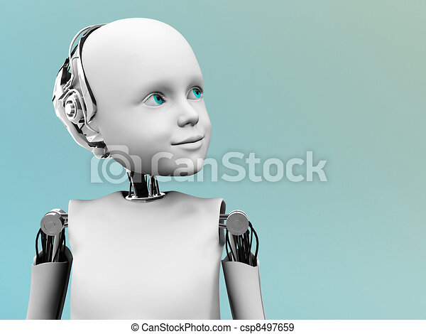 The face of a child robot. - csp8497659