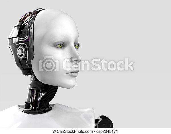 The face of a robot woman. - csp2045171