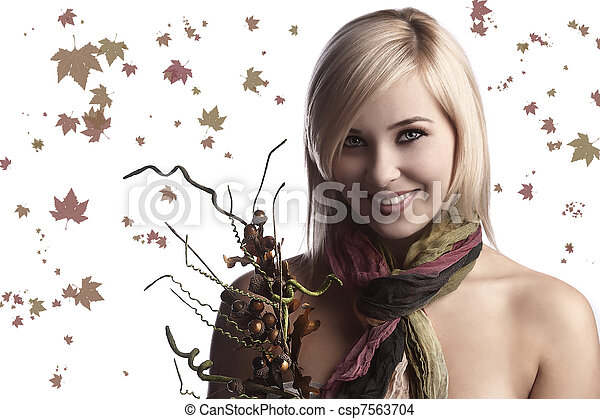 the fall girl with bouquet - csp7563704