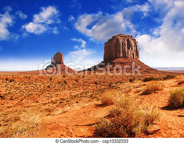 The famous Buttes of Monument Valley at Sunset, Utah - csp10332333