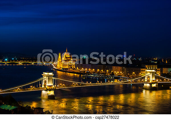 The famous chain bridge in Budapest - csp27478022