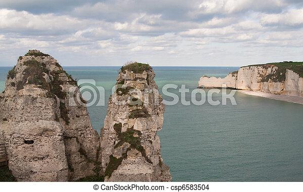 The famous cliffs at etretat, Normandy, France - csp6583504