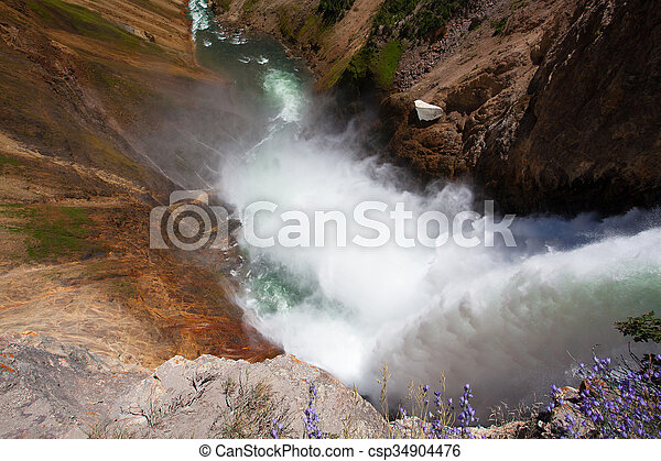 The famous Lower Falls in Yellowstone National Park - csp34904476