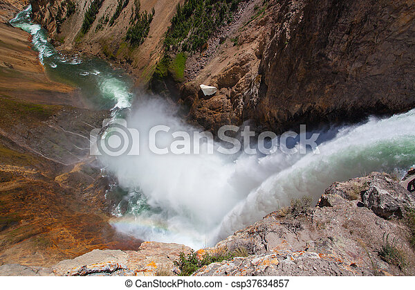 The famous Lower Falls in Yellowstone National Park - csp37634857