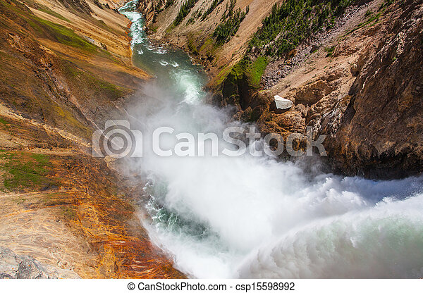 The famous Lower Falls in Yellowstone National Park - csp15598992