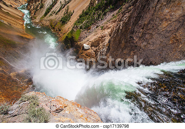 The famous Lower Falls in Yellowstone National Park - csp17139798
