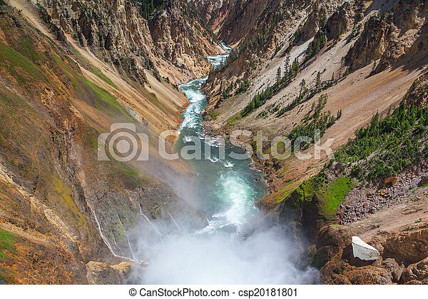 The famous Lower Falls in Yellowstone National Park - csp20181801