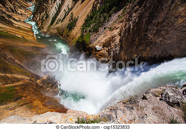 The famous Lower Falls in Yellowstone National Park - csp15323833