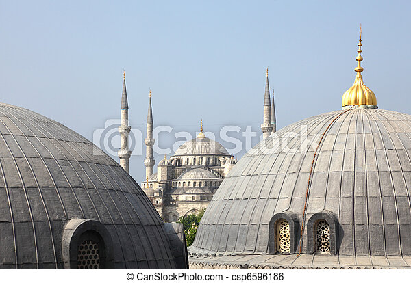 The famous Sultan Ahmed Mosque (Blue Mosque) in Istanbul, Turkey - csp6596186