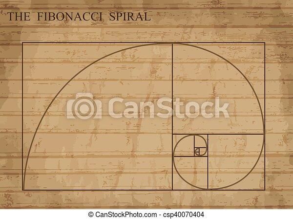 The Fibonacci spiral on retro style - csp40070404