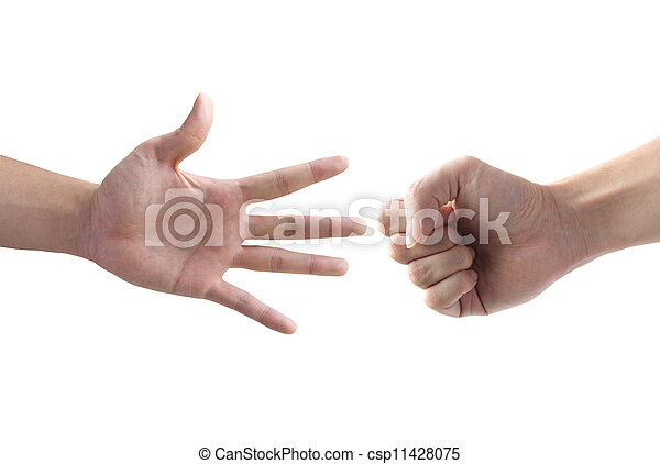 The fighting of two hand with rock and paper symbol - csp11428075