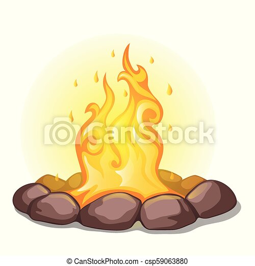 The fire surrounded with stones isolated on a white background. Vector cartoon close-up illustration. - csp59063880