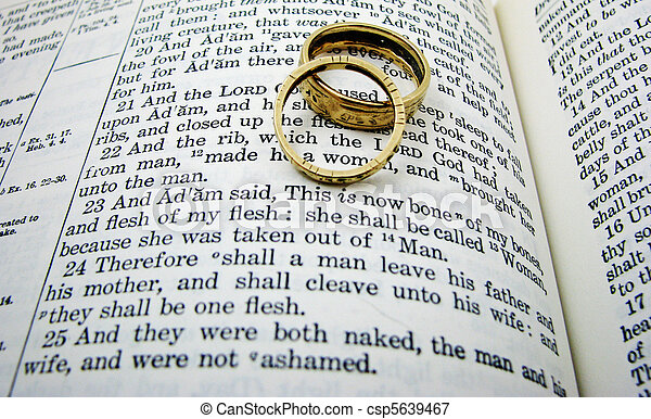 The first wedding vow in the book of genesis with two picture