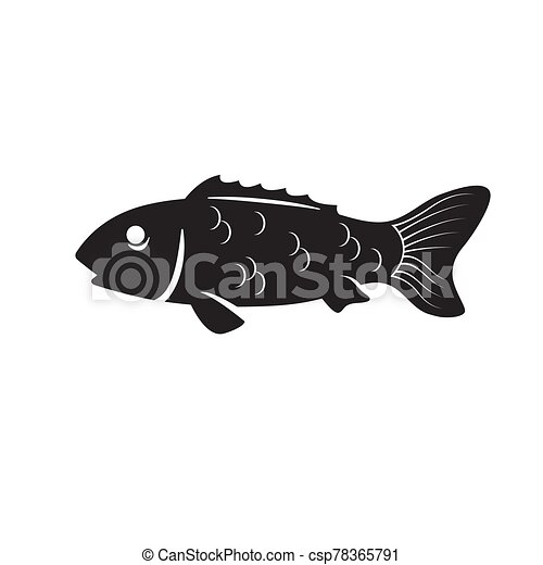 The fish icon is a black silhouette on a white isolated background. Vector image - csp78365791