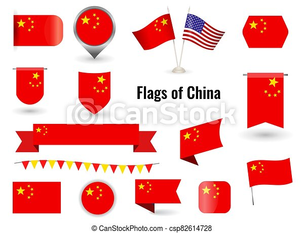 The Flag Of China Big Set Of Icons And Symbols Square And Round China Flag Collection Of Different Flags Of Horizontal And