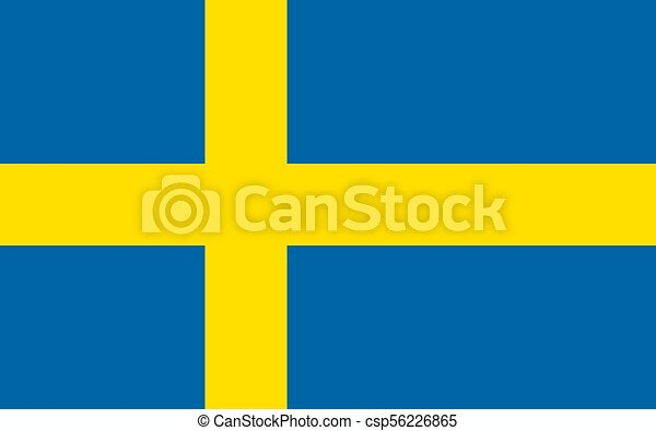 The Flag of Sweden. National symbol of the state. Vector illustration. - csp56226865
