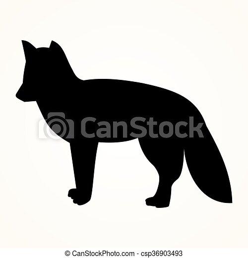 the Fox icon on black background, ve - csp36903493