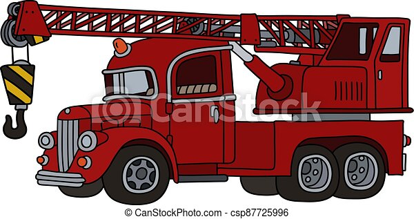 The funny classic red truck crane - csp87725996