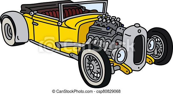 The funny yellow hotrod - csp80829068